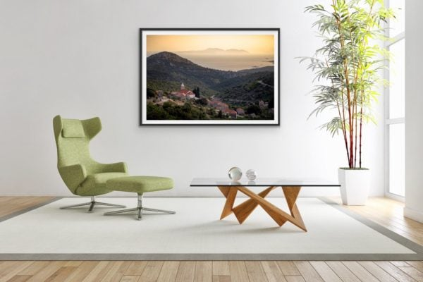 Fine art print in a black frame of the small community of Vrisnik - nestled in the hills of the Croatian island, Hvar.