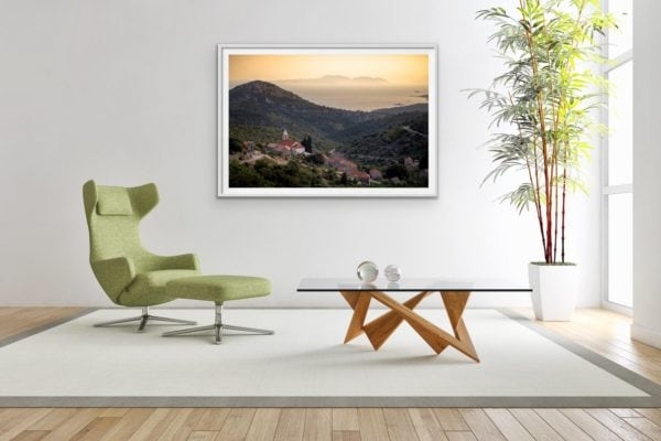 Fine art print in a white frame of the small community of Vrisnik - nestled in the hills of the Croatian island, Hvar.