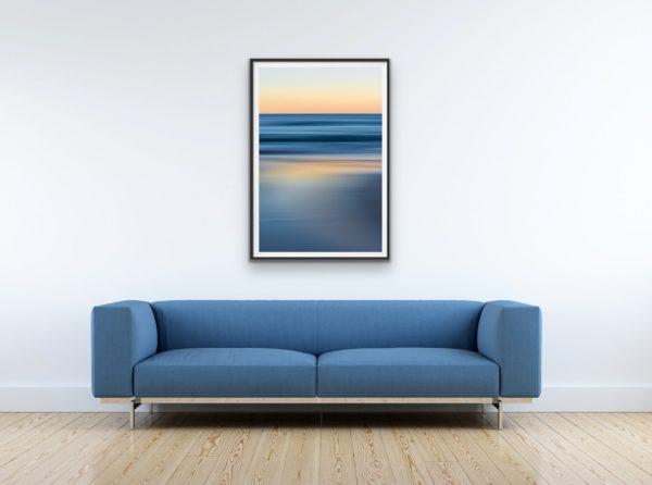 Bluestrokes - Cool ocean tones contrast with the peachy pre-dawn glow. Framed in black