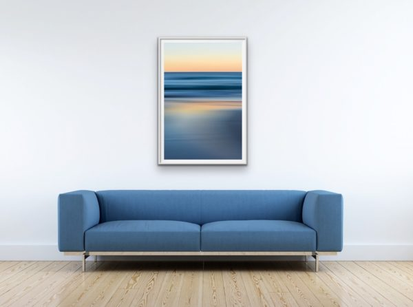Bluestrokes - Cool ocean tones contrast with the peachy pre-dawn glow. Framed in white
