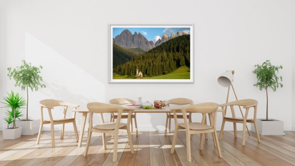 Chiesetta di San Giovanni in Ranui - a small church in the Dolomites. Framed in white