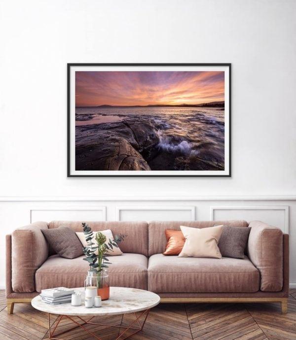 Skyfire - an amazing sunset over the ocean. Framed in black