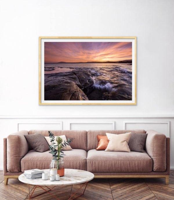 Skyfire - an amazing sunset over the ocean. Framed in Tasmanian oak