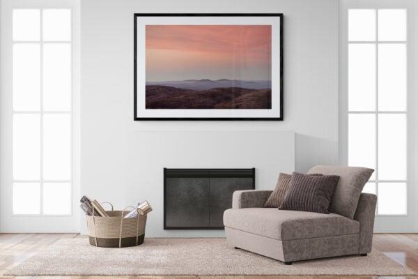 Alps Sunrise - A soft alpine sunrise dusts the rolling peaks of Kosciuszko National Park, Australia. Framed in black