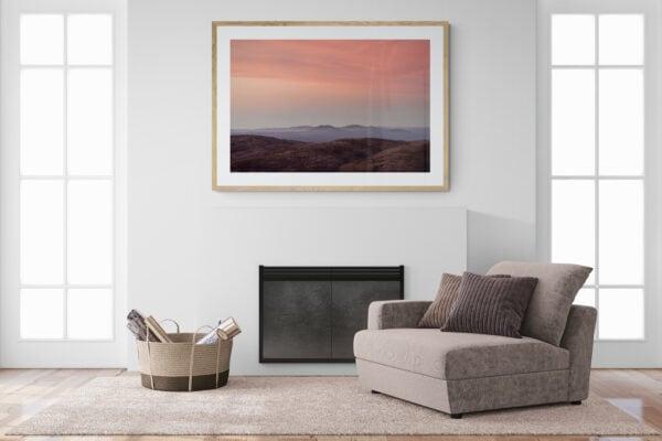 Alps Sunrise - A soft alpine sunrise dusts the rolling peaks of Kosciuszko National Park, Australia. Framed in Tasmanian oak