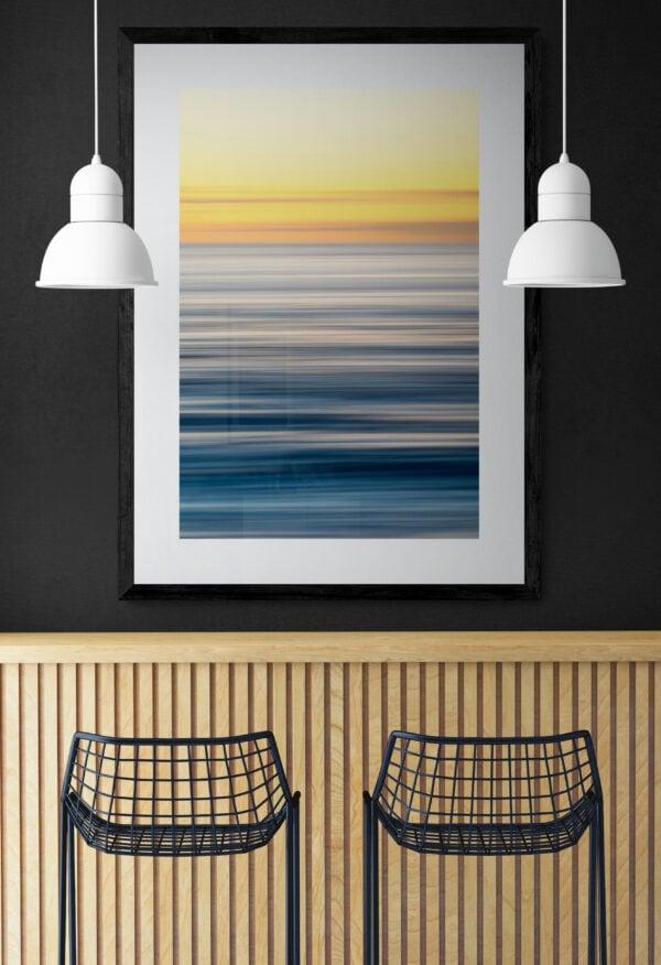 Artwork of soft pastel lines, framed in black
