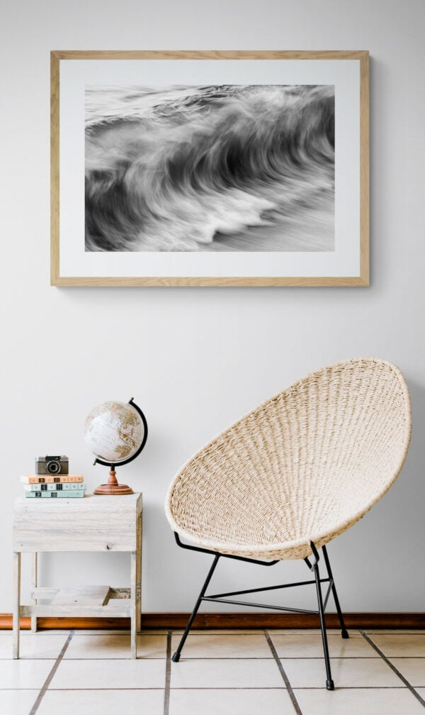 The ocean's movement - textures resembling charcoal sketches. Framed in Tasmanian oak