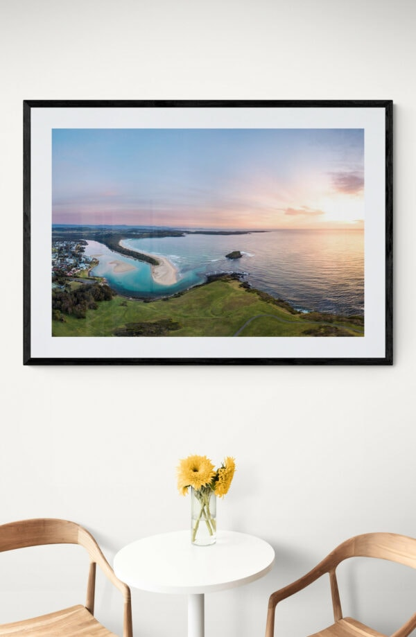 Minnamurra headland sunrise. Framed in black