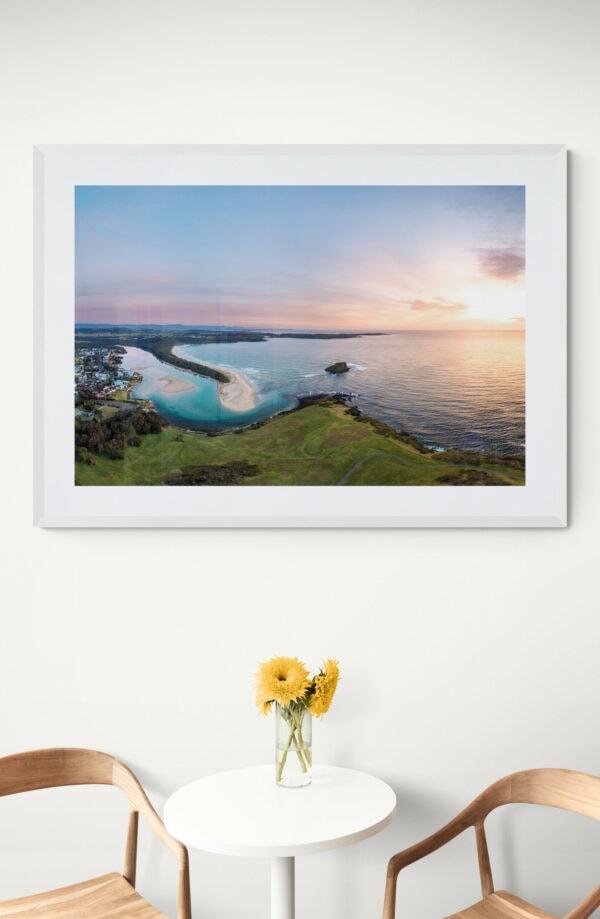 Minnamurra headland sunrise. Framed in white