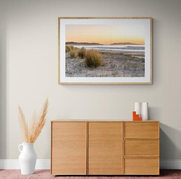 Sunrise on a deserted South Coast beach. Framed in Tasmanian oak