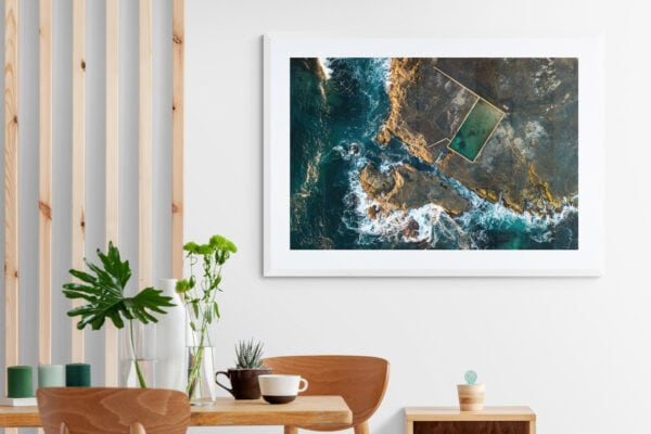 Aerial view of Werri Rockpool. Framed in white